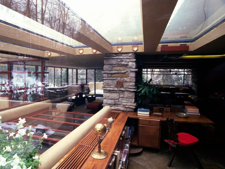 """Interior View of """"Fallingwater"""" by Frank Lloyd Wright"""