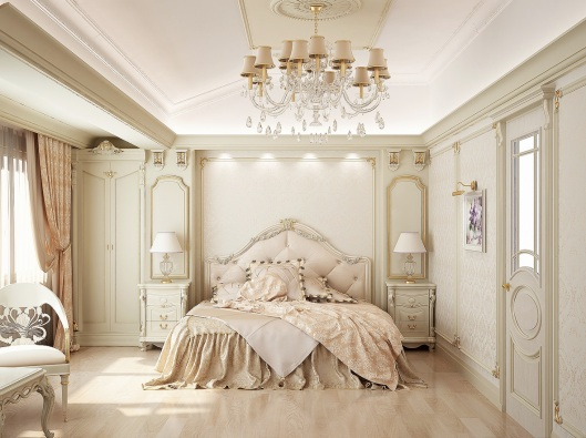 Contemporary-White-Color-Themed-Bedroom-Design-with-Vintage-Beige-Frame-Bed-and-Mid-Century-Chandelier-also-Vintage-Furniture-Design-for-Glamorous-Vintage-Bedroom-Design-Ideas
