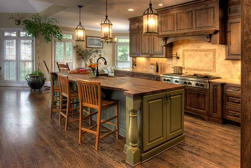 Elegant-Country-Kitchen-Antique-Wooden-Floor-Decorating-Ideas
