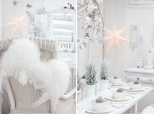 white shabby chic christmas table decor earnest foods. Black Bedroom Furniture Sets. Home Design Ideas