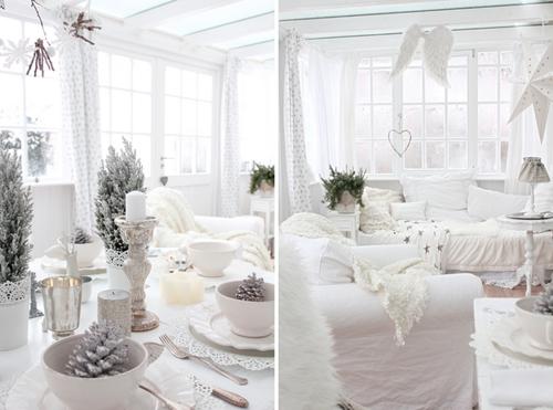 white christmas table settings