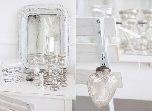 White Silver Mercury glass decorations